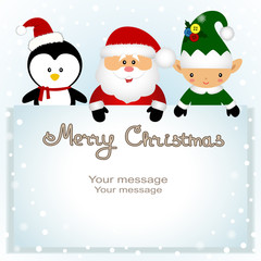 Christmas card. Funny postcard with Christmas Elf, penguin and Santa.