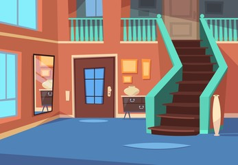 Cartoon hallway. House entrance interior with stairs and mirror. Cartoon indoor vector background. Hallway interior, home apartment with window illustration