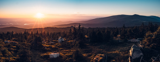 Sunrise in the mountains panorama