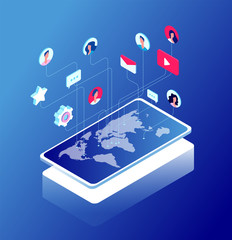 Wall Mural - Social network and world map. Internet marketing, like and message icons. Chatting and internet communication isometric vector concept. Chat mobile, like 3d icon, message app tag social illustration