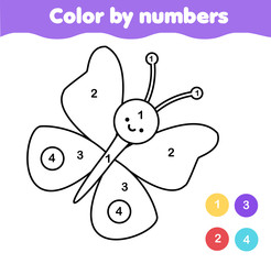 Coloring page with butterfly. Color by numbers printable activity