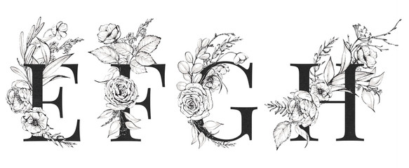 Graphic Floral Alphabet Set - letters E, F, G, H with black & white flowers bouquet composition. Unique collection for wedding invites decoration, logo and many other concept ideas.