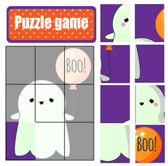 Puzzle for toddlers. Complete the picture of cute ghost. Halloween game for children