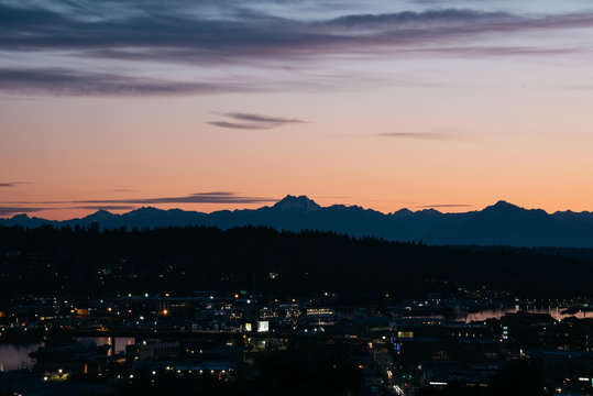 Dusk over the Olympic Mountains