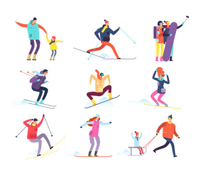 Winter sports people. Adult and children in winter clothes snowboarding and skiing. Vector cartoon characters. Winter snowboard and ski, snowboarder character illustration