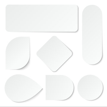 White paper stickers. Blank labels, tags in rectangular and round shape. Isolated vector set. Advertisement note paper, tag sticker illustration