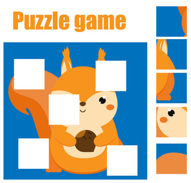 Puzzle for toddlers. Complete the picture with squirrel. Educational game for children