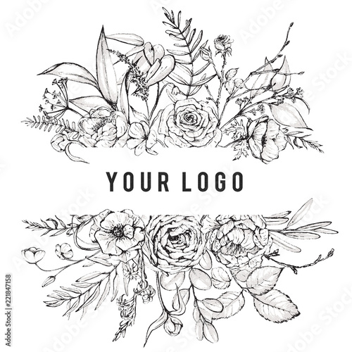 Graphic Fl Ilration Black White Inked Flowers Border Frame Header For Wedding