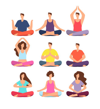Meditation people. Woman and man meditating in group in yoga or pilates class. Isolated characters vector set. Illustration of people exercise meditation, fitness health