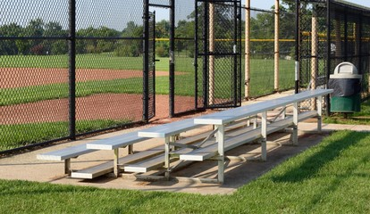A view of the metal bleachers at a sports venue.