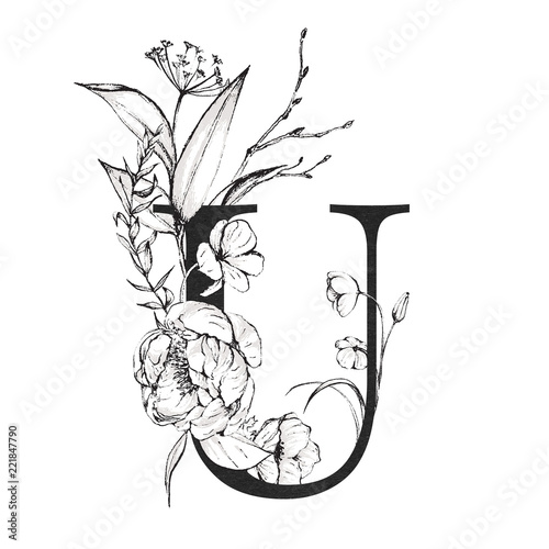 Graphic Floral Alphabet Letter U With Black And White Flowers