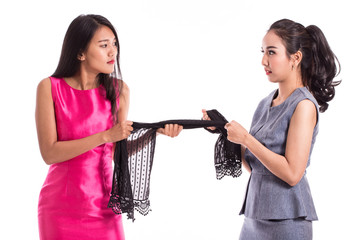 two woman to fight over the last piece of Scarf in Black Friday Sale,Isolated on white background