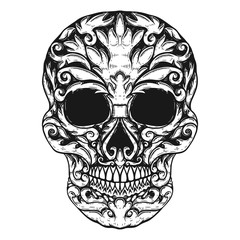 Hand Drawn Human Skull Made floral shapes. Design element for poster, t shirt.