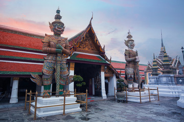 Wall Mural - Beautiful view inside Wat Phra Keaw in Bangkok, Thailand while beautiful sky prime time.