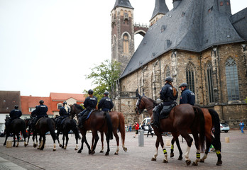 Police on horses are seen in Koethen