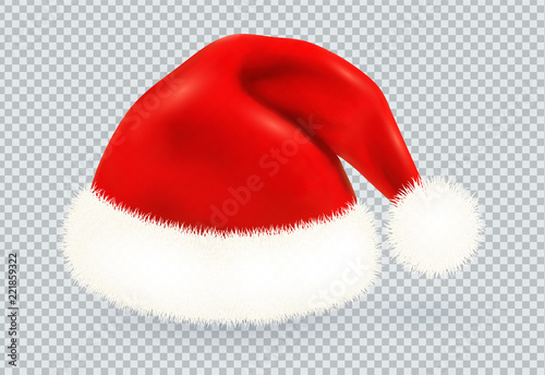 Christmas Hat Transparent.Red Santa Claus Vector Winter Hat With White Fur Isolated On