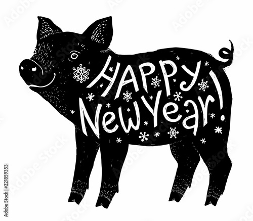 black pig silhouette with white happy new year lettering inside vector greeting card element