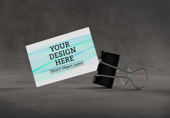 Business Card with Clip Mockup