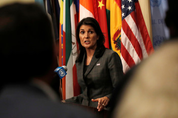 U.S. Ambassador to the United Nations Nikki Haley speaks to media after chairing meeting of U.N. Security Council in New York