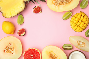 Frame made of melon, other fruits and space for text on color background, top view