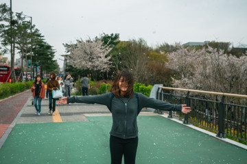 Young asian woman in blooming cherry blossoms or sakura garden with happiness in Seoul city South Korea