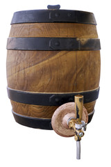 isolated on white background old barrel for draft beer