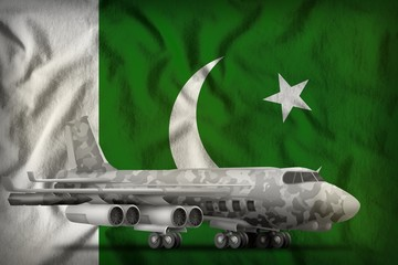 bomber with city camouflage on the Pakistan state flag background. 3d Illustration