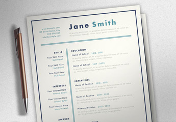 Cream Resume Layout with Blue Accents