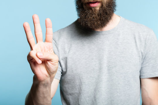 bearded man showing number three with his hand. cropped shot of a male torso on blue background. casual hipster in grey t-shirt counting gesture.