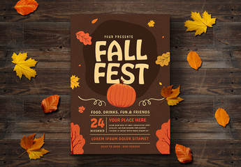 Fall Festival Flyer Layout with Leaf Illustrations