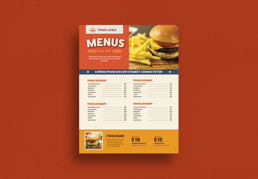 Restaurant Menu Layout with Burger Illustrations