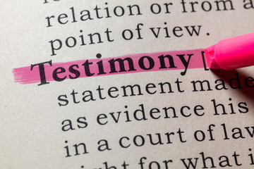 Wall Mural - definition of testimony