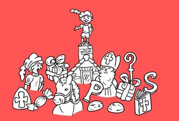 Sinterklaas feest - diverse elementen die symbool staan voor het sinterklaas feest