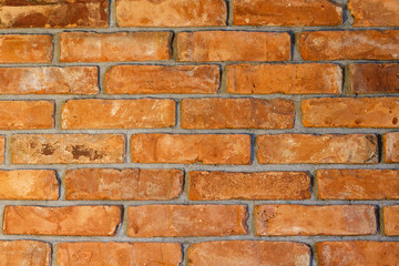 Red bricks wall./ Brick wall red background with texture