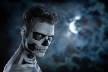 Dia de los Muerto Costume - Day of the dead is a mexican holiday. Here is a man with skull face