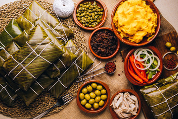 Group of ingredients for the elaboration of Christmas hallacas, typical Venezuelan dish