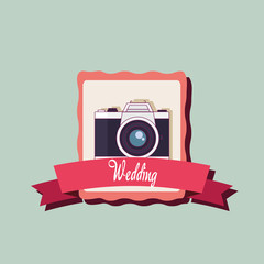 wedding card with photographic camera