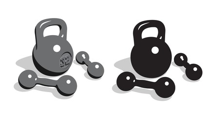 Retro vintage weights and dumbbells for strength athletic training. 3d vector illustration.