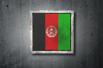 Afghanistan flag in concrete wall