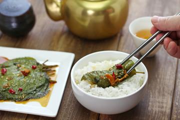 pickled perilla leaves over rice, korean food, kkaennip jangajji