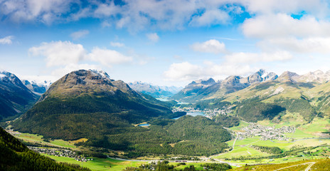 View of the top of Piz da Staz and lakes in the area St.Moritz.