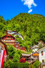 Wall Mural - Beautiful architecture of Hallstatt village, Austrian Alps,  Salzkammergut, Austria, Europe