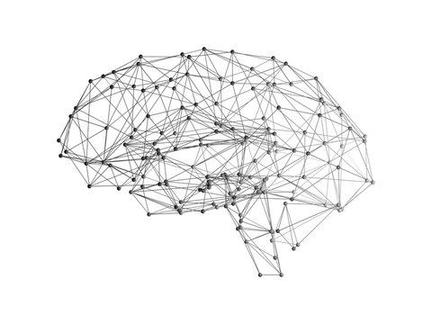 Digital data and network connection of human brain on white background in the form of artificial intelligence for technology concept, 3d abstract illustration