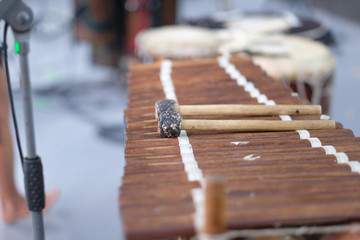 Balafon, a percussion musical instrument popular in African countries, on the stage of the festival