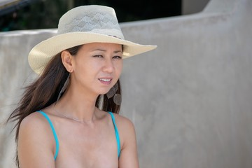 Woman in Straw Hat Asian