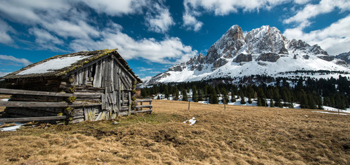 Old hut in Dolomites mountain