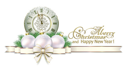 Happy New Year 2019. Christmas card on a white background