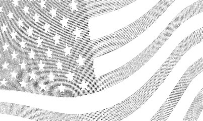 USA dotted halftone flag illustration.