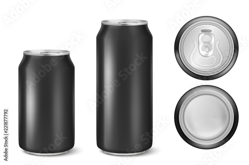 vector realistic black empty metal beer pack can alcohol soda