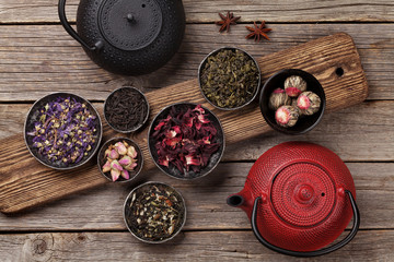 Various tea and teapot. Black, green and red tea